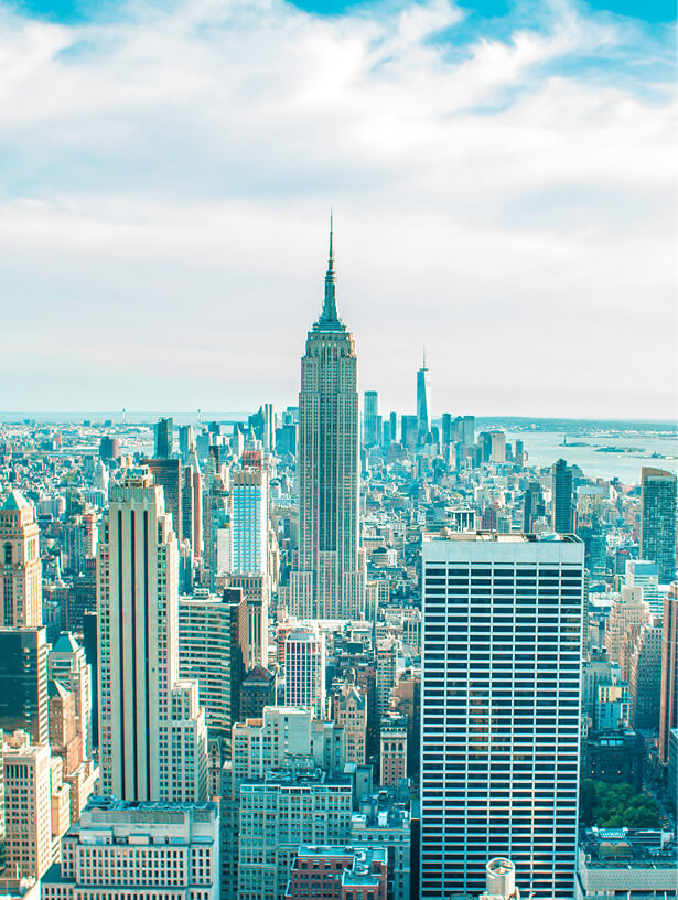 Image of New York City skyline, including the Empire State Building.