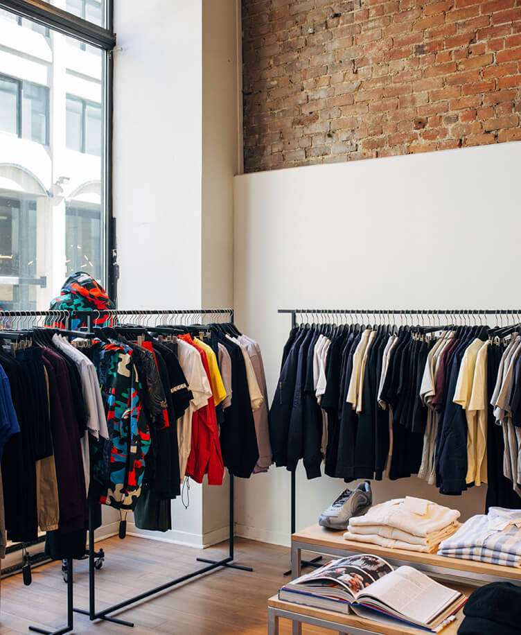 Image of clothes in apparel store.