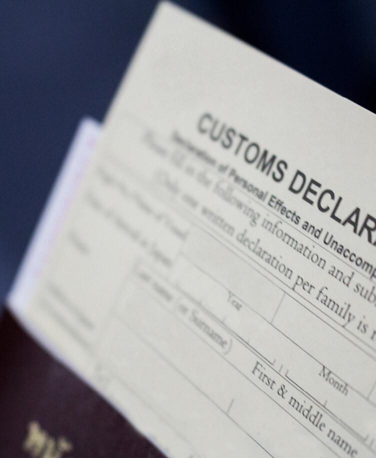 Image of customs declaration form.