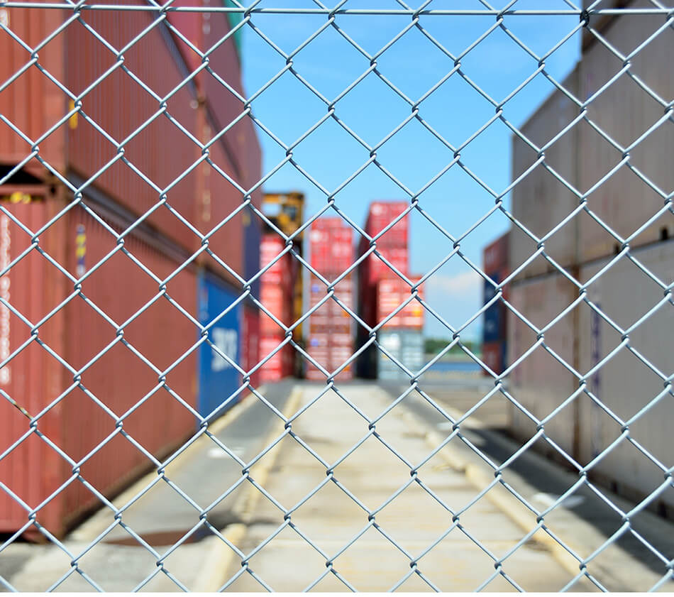 Image of shipping container stockyard.