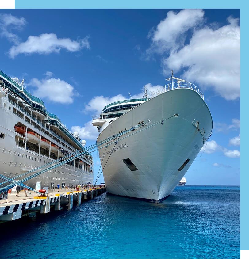 Image of docked cruise ships.