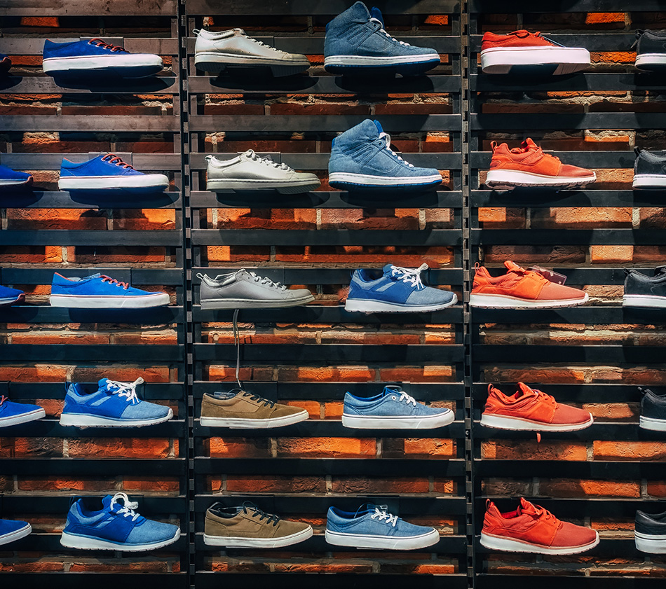 Image of retail wall of shoes.