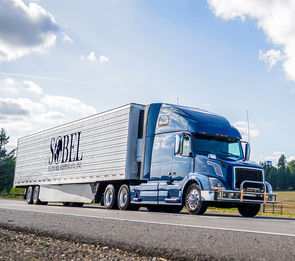 Image of freight truck with Sobel logo