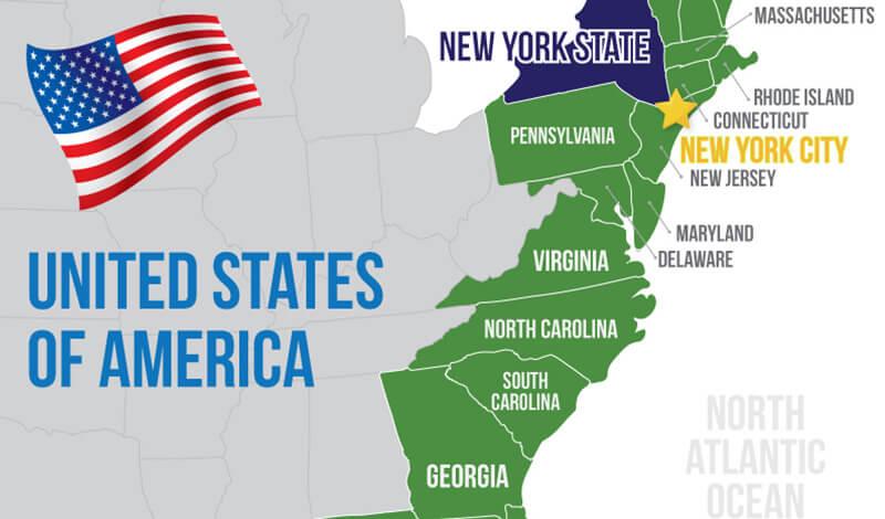 Map of United States East Coast