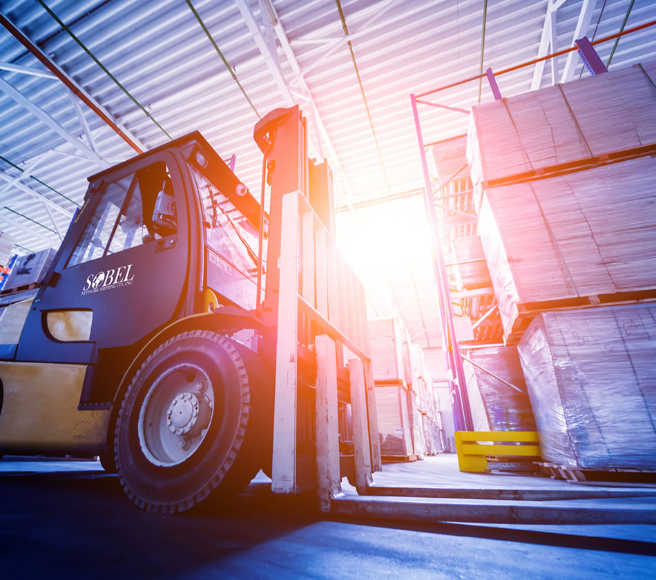 Warehouse image with Sobel-branded forklift