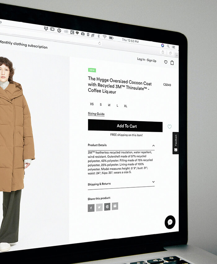 Image of a product page for an ecommerce site.