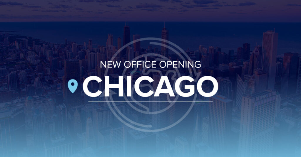Header image for press release about new office in Chicago.